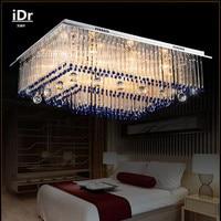 Creatieve blauw achthoekige kralen vierkante woonkamer plafond verlichting verlichting moderne kristallen lamp met slaapkamer L800xW600MM