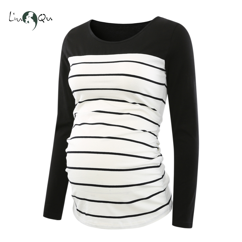 Long Sleeve Pregnancy Blouse Side Ruched Maternity Clothes Striped Patchwork Mama Top...