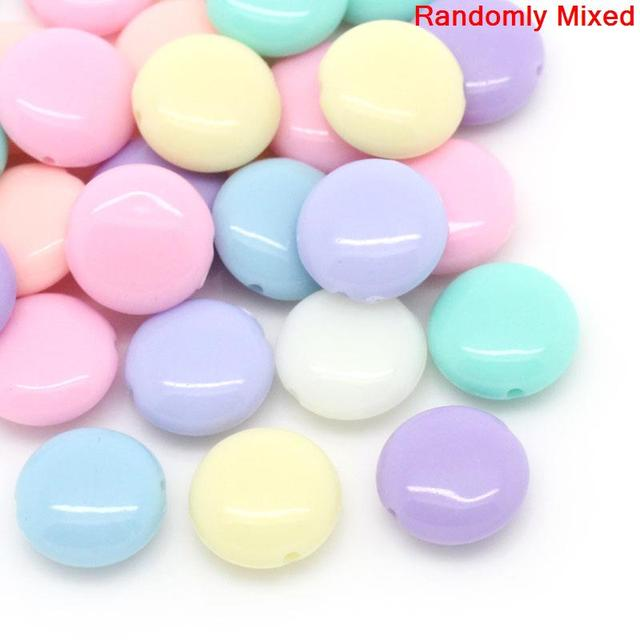 """DoreenBeads Acrylic Spacer Beads Flat Round Mixed About 12.0mm( 4/8"""") x 5.0mm( 2"""