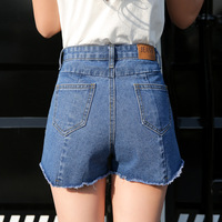 2017 European And American BF Summer Wind Female Blue Irregular Denim Shorts Women Worn Loose Burr