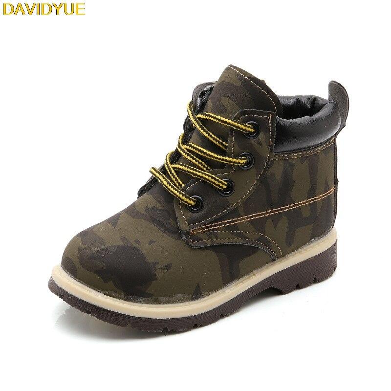 Davidyue neue kinder stiefel schuhe für jungen mädchen kinder martin armee stiefel sneaker mädchen jungen stiefel baby winter flache sneaker
