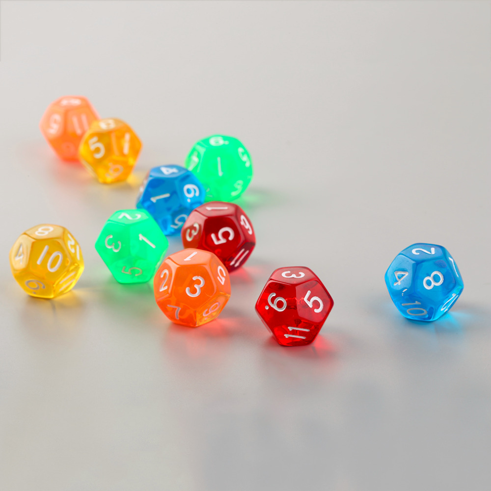 10pcs/Set Multicolor Transparent 12-Sided Role Playing Game Dices D12 image