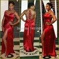 2015 Nueva Envoltura de La Manera V Cuello de Satén Plisados Raja Del Lado Rojo alfombra Vestidos Más del Tamaño Vestidos de Noche Rojo Vestidos de Baile Con Cuentas