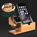 3 puertos usb 3.0 para apple watch sólido de bambú natural Escritorio Carga Estación de Acoplamiento Cargador De Bambú de madera Del Sostenedor Del Soporte Para iphone