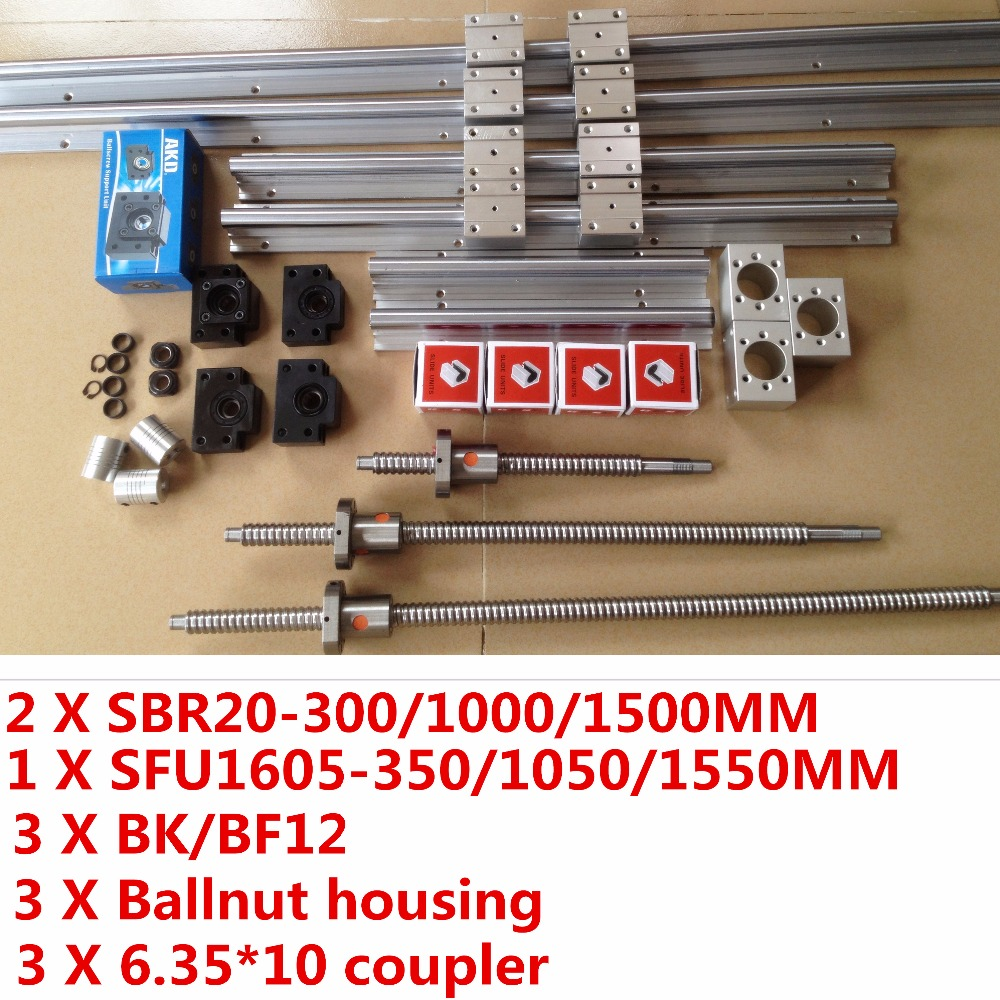 2 X SBR20 rail L 300/1000/1500MM Linear Guides cnc router part +3 Ballscrews sfu1605 +3 BK12 BF12 +3 coupling +3 ballnut housing 2 x sbr20 300 600 1000mm linear rail support sets 3 ballscrews rm1605 3 bk bf12 3 coupling