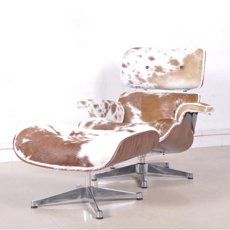 U-BEST Haute Réplique style européen mobilier design cerise noyer fantaisie charles chaise longue en cuir de poney