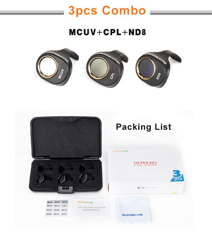 3 IN 1 Lens Filter Bundle ND8 UV CPL Lens Filter For DJI SPARK Camera Drone Neutral Density Polarizing Gimbal Filter Parts