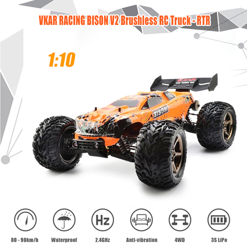 80 - 90km/h High Speed Brushless Motor RC Racing Car VKAR RACING BISON V2 1:10 2.4GHz 2CH 4WD Truck Remote Control Rock Crawlers