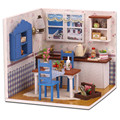 DIY Wooden Doll House with Furniture Assembling Toy,Novelty Warm Coffee Time Dollhouse Miniature Toys for Children Free Shipping
