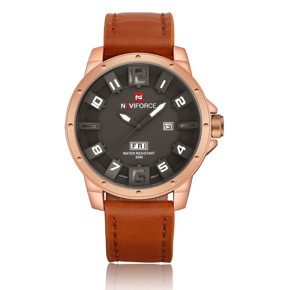 Naviforce NF9061 Military Quartz Watch Men Brown Leather Strap