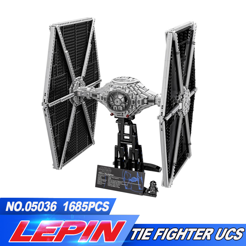 NEW 1685Pcs LEPIN 05036 TIE Fighter Model Building blocks Bricks Classic Compatible 75095 Boys Gift 2018 new lepin 05036 1685pcs star series wars tie fighter model building kits blocks bricks compatible children toys gift 75095