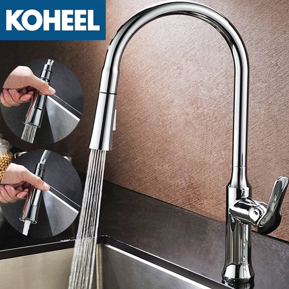 KOHEEL Kitchen Faucets Silver Single Handle Pull Out Kitchen Tap Single Hole Handle Swivel 360 Degree Water Mixer Tap Mixer newly arrived pull out kitchen faucet gold sink mixer tap 360 degree rotation torneira cozinha mixer taps kitchen tap