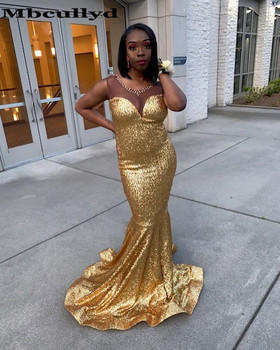 Mbcully Sheer Scoop Black Girls Mermaid Gold Prom Dresses Long 2020 Crystal African Backless Formal Evening Party Gala Gowns