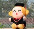 Около 20 см бакалавр платье обезьяна плюшевые игрушки докторантуры шляпа обезьяна игрушка-кукла сувенир подарок выпускные w6412