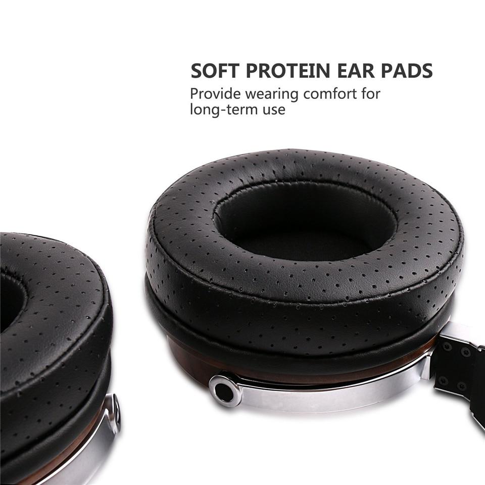 SIVGA SV007 Houten BASS HIFI Stereo Noise Isoliation Over ear DJ Dynamische Wired Hoofdtelefoon met Microfoon - 3