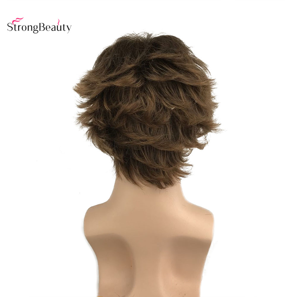 StrongBeauty Men Wigs Natura Light Brown Short Straight Synthetic Hair wig wig