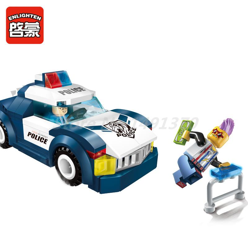 City Police Series Enlighten Building Blocks Police Chase Car 2 Figures 114pcs MOC Educational Kids Toys For Children Gifts стоимость