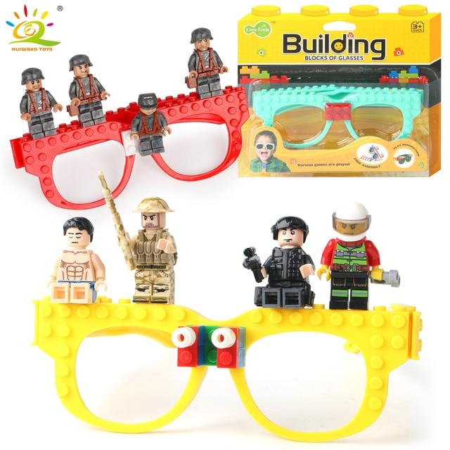 HUIQIBAO TOYS Glasses Frame BasePlate building Blocks Legorreta soldiers figures DIY city Bricks Base plates Game children Toys