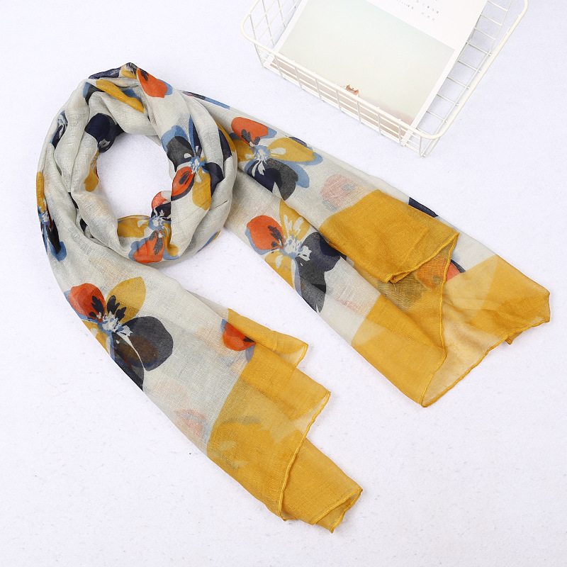 180*90cm New Bandana Women Long Print Flower Scarves Cotton Winter Shawl Pashmina Bandana Foulard Femme Hijab Scarf Female