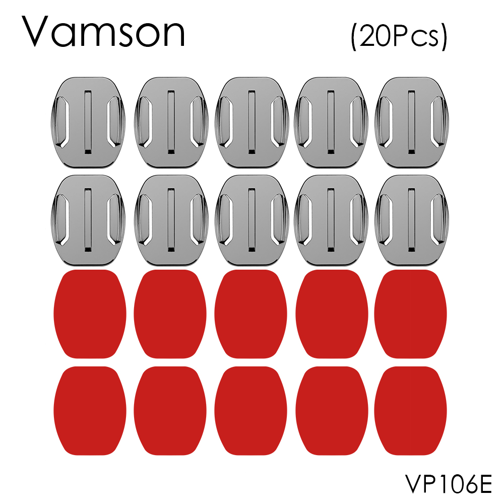 Vamson 20Pcs Flat Surface Base Mount With 3M VHB Adhesive Stickers For Gopro Hero 5 4 3 For SJ4000 For Eken Accessories VP106E