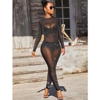 2019 Rompers Womens Jumpsuit Glitter Very Sexy Long Sleeve Bodysuit Turtleneck Nightclub Mesh Sequin Jumpsuits Plus Size Women