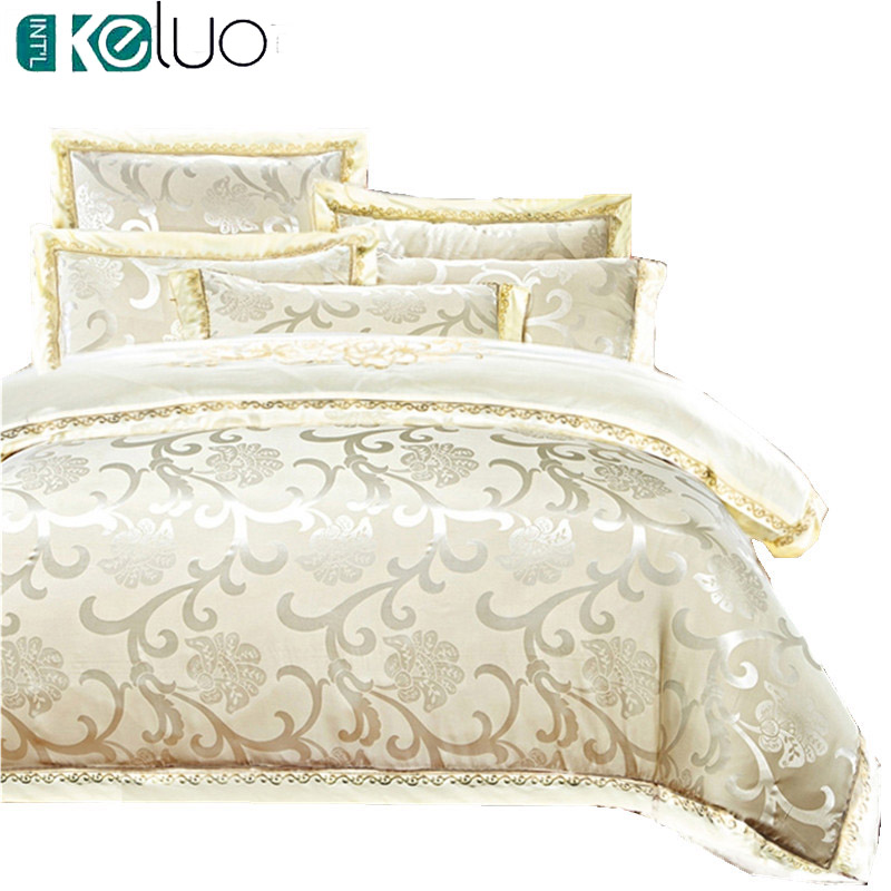 KELUO Luxury Satin Wedding Jacquard mulberry silk bed 100% cotton Embroideredincluding duvet cover bed sheet pillowcase Cream