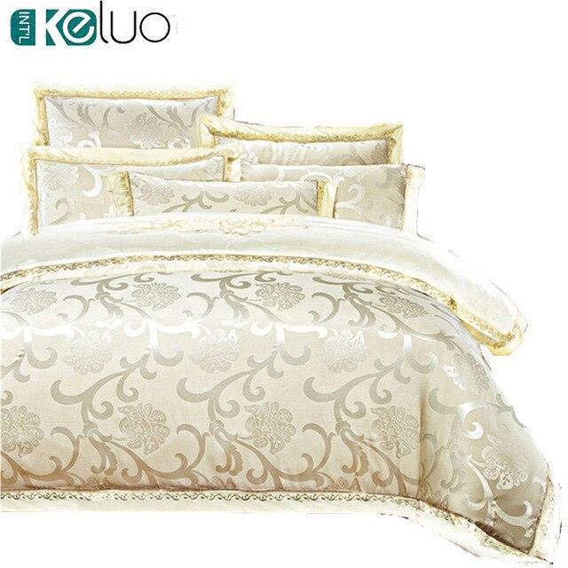 KELUO Luxury Satin Wedding jacquard mulberry silk bedding 100%cotton Embroideredincluding duvet cover bed sheet pillowcase Cream