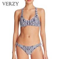 VERZY Plus Size Widen Straps Lace Up Back Bandage Bikinis Set Geometric Fitness Wire Free Summer