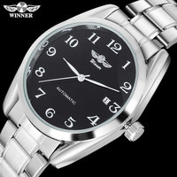 2016 WINNER Famous Brand Men Luxury Automatic Self Wind Watches Black Dial Transparent Glass Silver Case