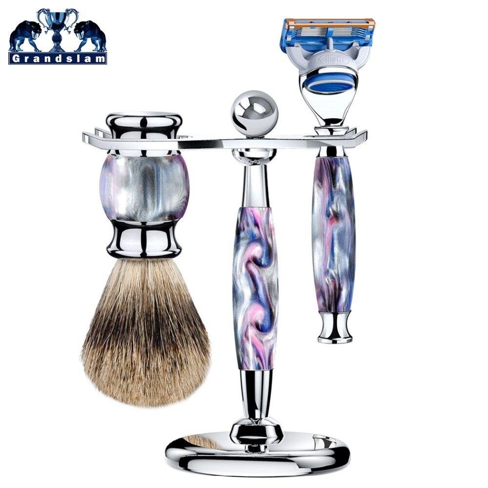 Grandslam 3pcs / Set Man 5 Blade Shaving Razor Cartridge Shaver+Shaving Brush Pure Badger Hair + Stand Holder mens badger shaving brush stand razor holder and double head safety straight razor