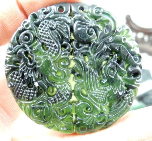 100/% Natural Green Hetian Jade Hand-carved Sculpture Dragon /& Phoenix Pendant #2