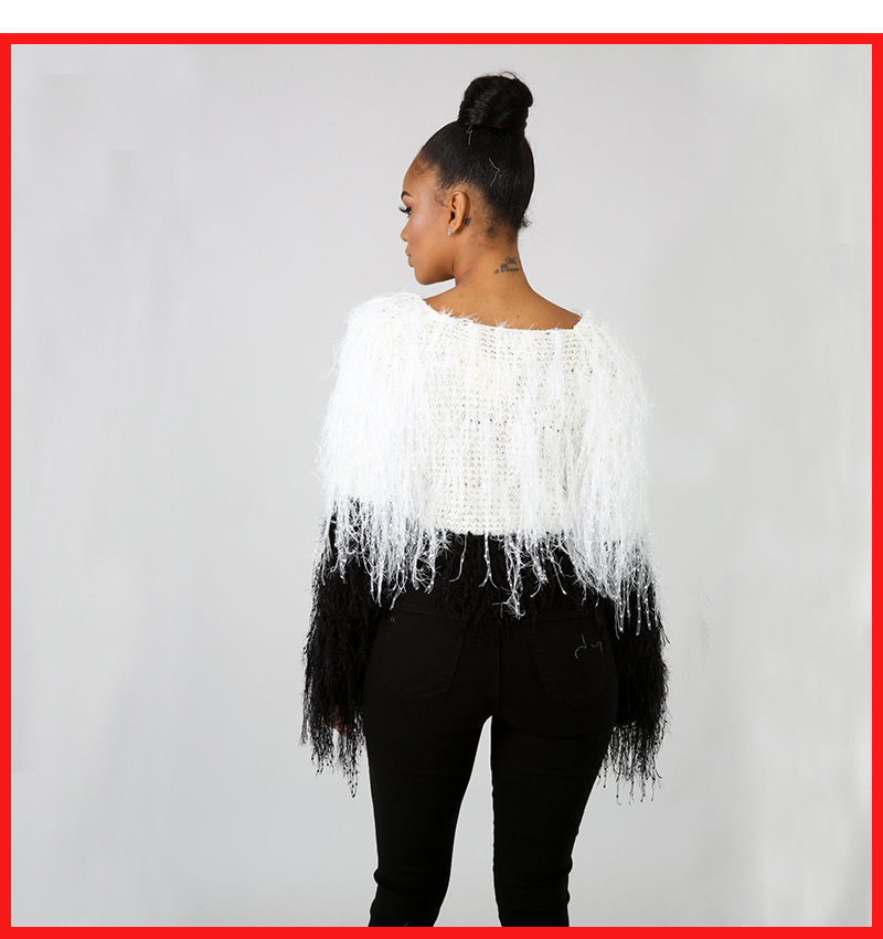 Stigende Tassels Crop Sweater Pullover Autumn Woman Boat Neck Sweater Knitting Pullovers Elegant Sexy Crochet Solid Top Clubwear 7