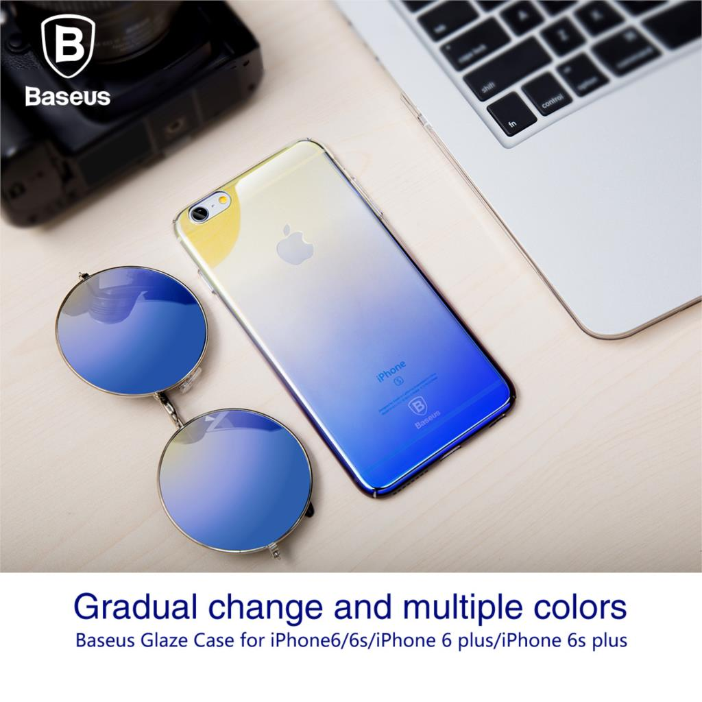 Baseus telefon case for iphone 6 6 s ultra płaski oświetlenie kolor gradientu twardy pc case for iphone 6 6 s plus coque tylna pokrywa shell 1