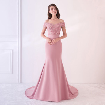 Holievery Beaded Satin Mermaid Off Shoulder Evening Dresses with Appliques New Blush Pink Red Gold Royal Blue Long Formal Dress