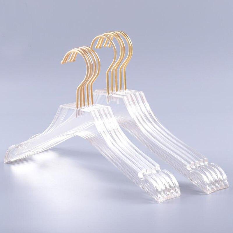 10 ชิ้น Luxury Clear อะคริลิคคริสตัลแขวนเสื้อผ้ากับ Gold Hook, โปร่งใสเสื้อชุดแขวน Notches สำหรับเลดี้-ใน ไม้แขวนและชั้นวาง จาก บ้านและสวน บน   1