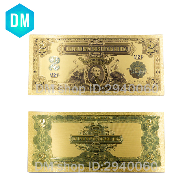 1899 Year Usa 2 Usd Gold Banknote Currency World Money Replica Foil Bill Business