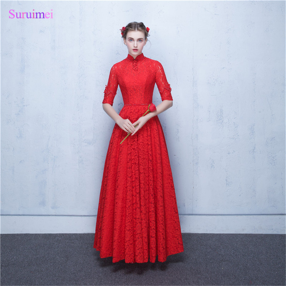 2018 New Arrival O Neck Red Lace Evening Dresses Floor Length China ...