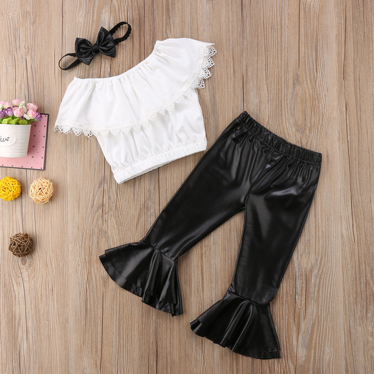 Fashion Cool Toddler Kid Baby Girl Cute Set Strapless Lace Off Shpulder Tops Leather Flare Pants Headband Clothes Set USA