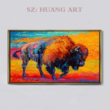 Free Shipping Artist Hand-painted High Quality Colors Animal Longhorn Cow Oil Painting on Canvas Decorate the sitting room hall