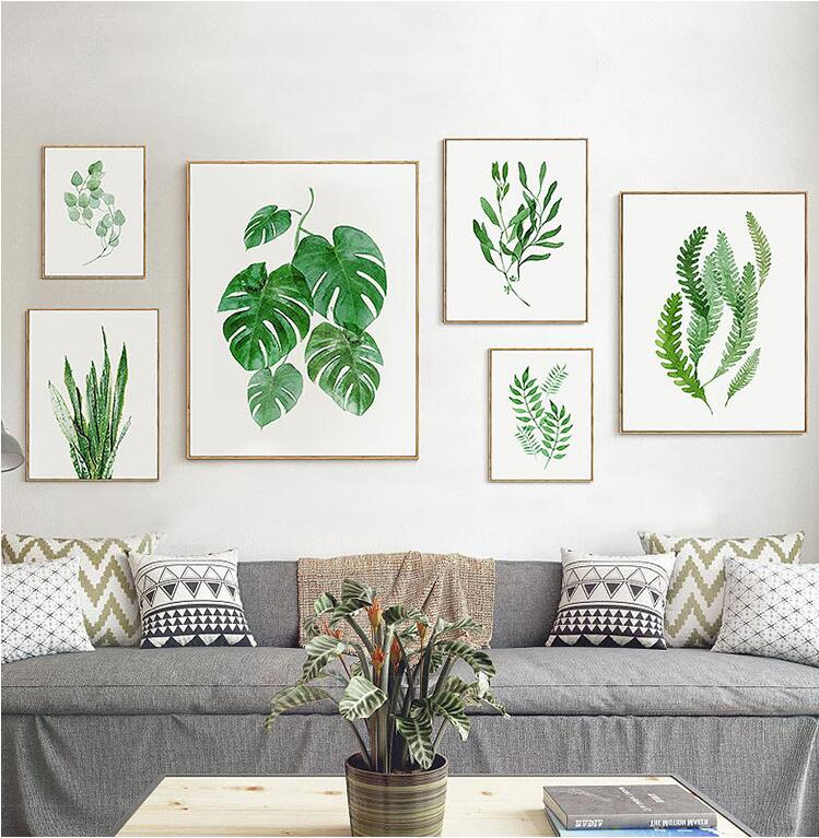 framed new simple watercolour green palm tree leaves wall art set hd canvas printing for home. Black Bedroom Furniture Sets. Home Design Ideas