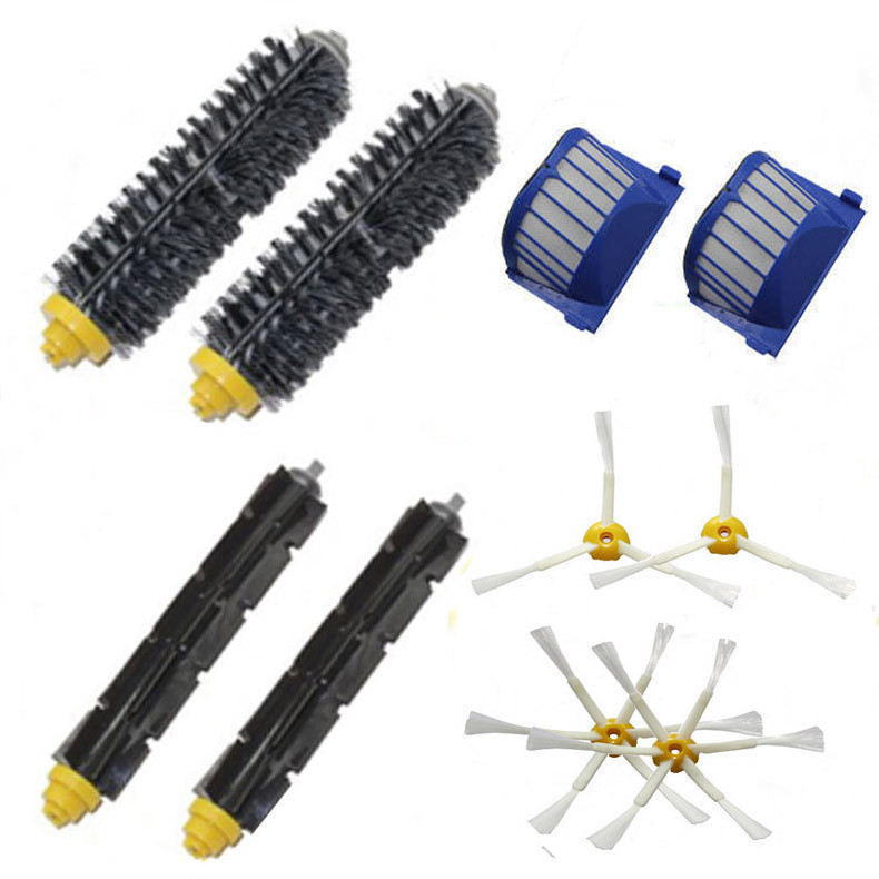 2 Bristle & Flexible Beater &4 Armed Brush & 2 Aero Vac Filterfor iRobot Roomba 600 Series 620 630 650 660 bristle brush flexible beater brush fit for irobot roomba 500 600 700 series 550 650 660 760 770 780 790 vacuum cleaner parts
