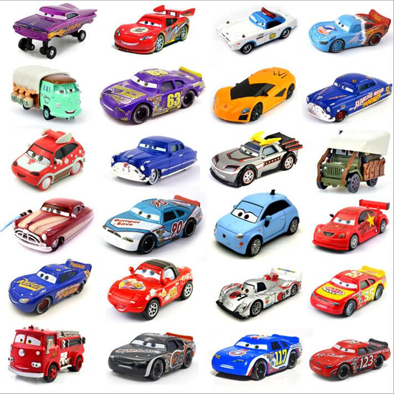 Cars Disney Pixar Cars 2 And Cars 3 Lightning McQueen Jackson Racing Family 1:55 Diecast Metal Alloy Toy Car For Kids
