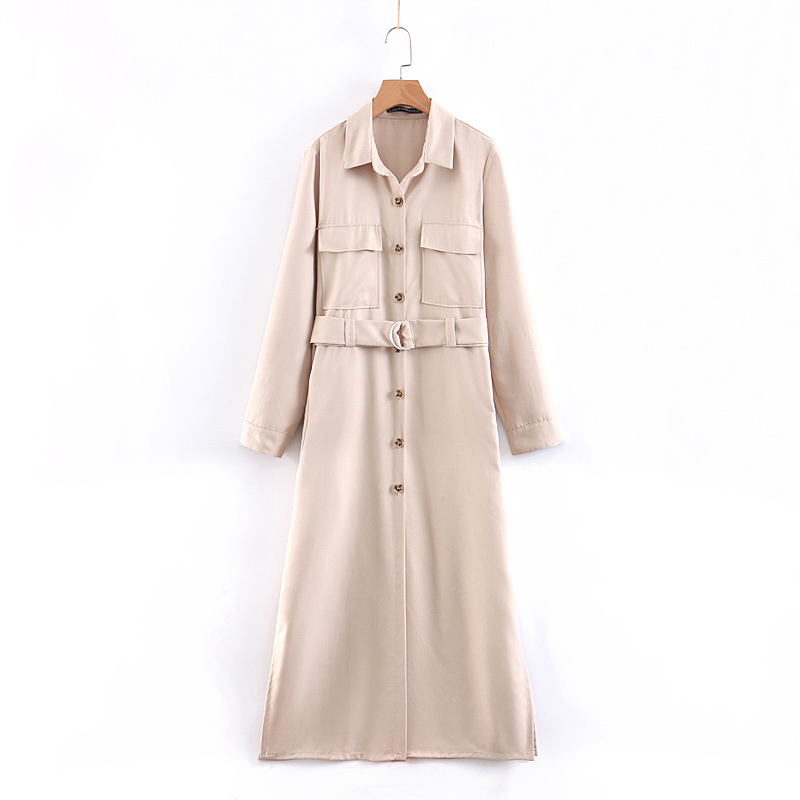 Women autumn elegant solid color long sleeve   trench   button up coat sashes pocket female chic outerwear long coats