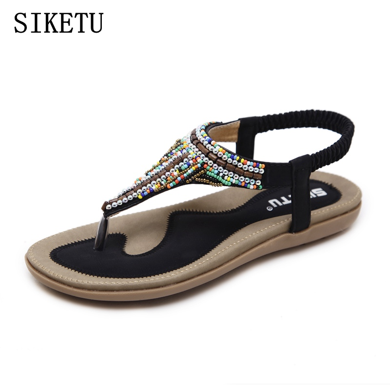 SIKETU 2017 summer shoes women bohemia beach flip flops soft flat sandals woman casual comfortable plus size wedge sandals 35-42 casual wedges sandals 2017 summer beach women shoes platform flip flops print sandal comfort creepers shoes woman