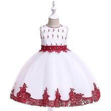 2019 летнее платье для девочек детские платья с вышивкой бисером