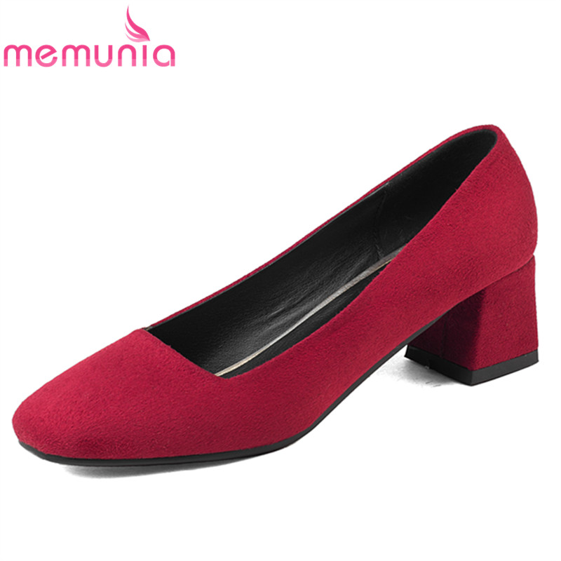 MEMUNIA 2017 new arrive women pumps fashion square toe spring autumn single shoes  shallow med heels shoes big size 34-43 memunia 2017 fashion flock spring autumn single shoes women flats shoes solid pointed toe college style big size 34 47