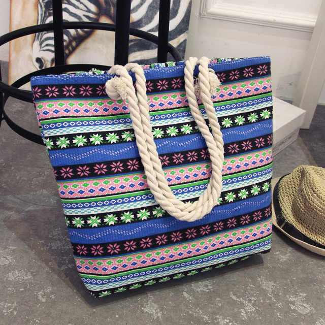 Summer Women Canvas bohemian style striped Shoulder Bag 4