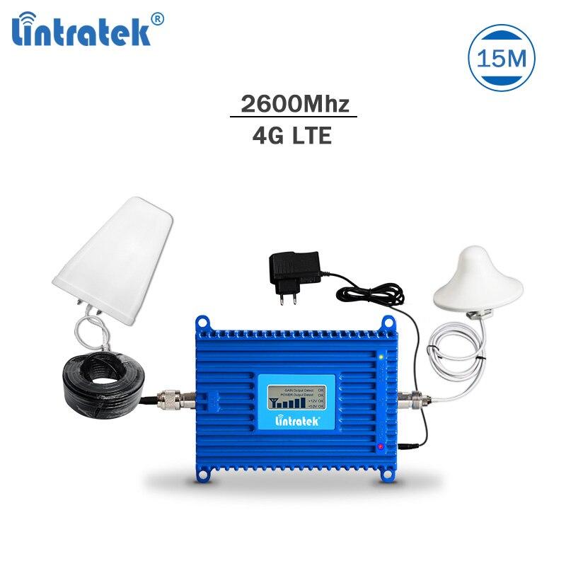 Lintratek 4G signal répéteur LTE 2600 Mhz téléphone portable signal booster 4G 2600 amplificateur AGC LTE mobile répéteur 70dBi kit complet #6.2