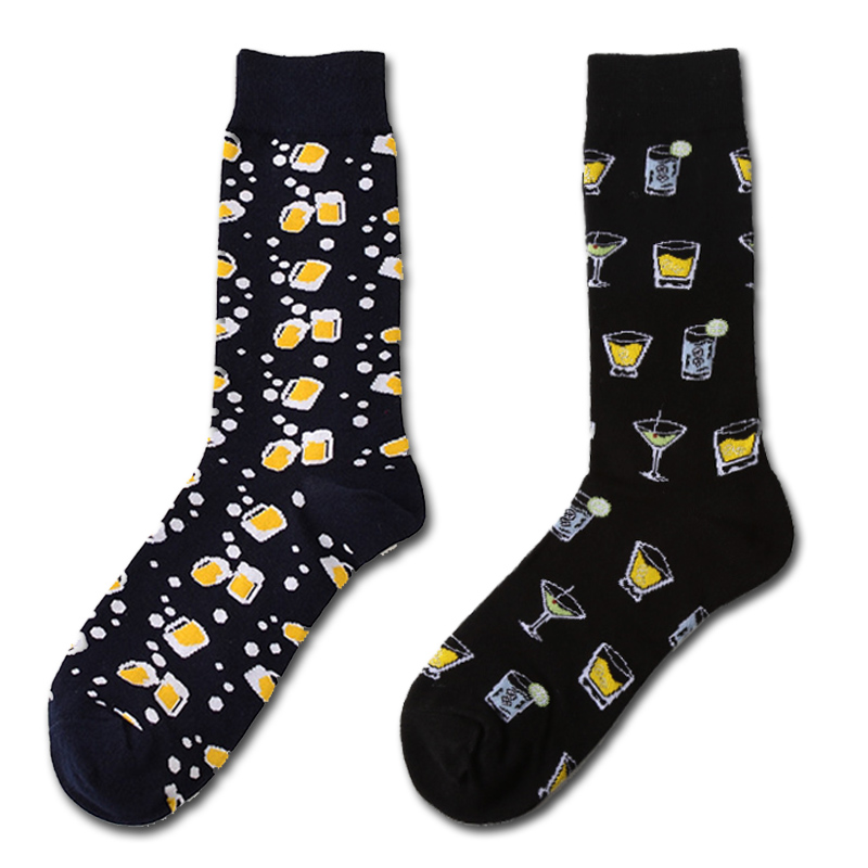New Fashion Novelty Harajuku Men Cotton Long Socks Funny Beer Socks Happy Musical Note Skull Printed Socks Calcetines Meias