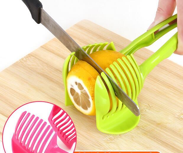 3PCS Hand Held Tomato Slicer Fruits Cutter Stand Lemon Cutter Shredders  Slicer Kitchen Accessories Cooking